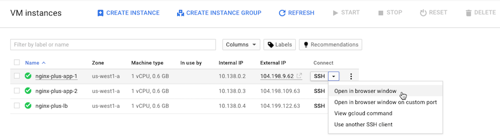 Screenshot showing how to connect via SSH to a VM instance, part of deploying NGINX Plus as the Google load balancer.