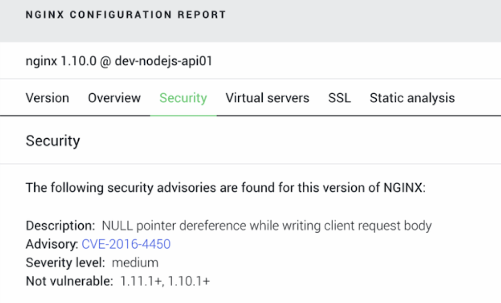 """NGINX Amplify configuration report helps you manage software updates and security"