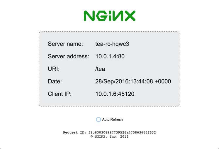 The sample 'tea' microservice provided with the NGINX and NGINX Plus Ingress controllers for Kubernetes load balancing returns an index page with request details