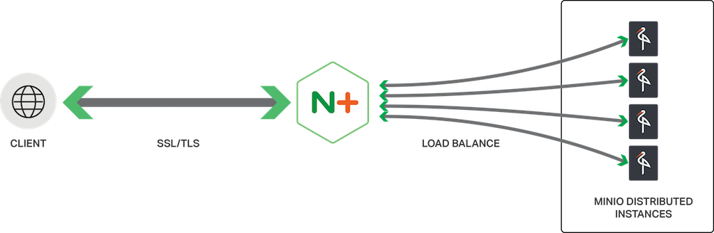 NGINX Plus is an effective load balancer for distributed instances of the Minio cloud-based object storage server