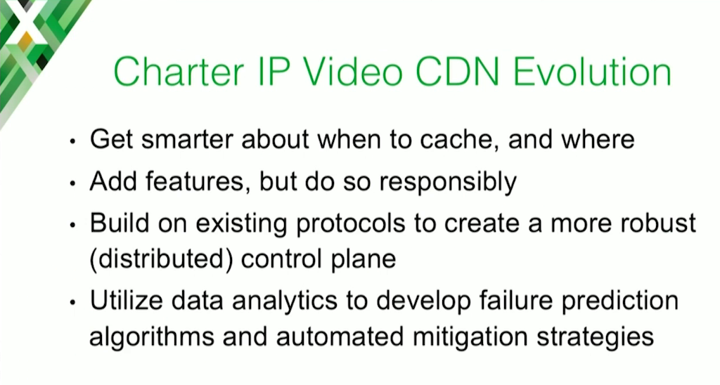Possible improvements to the Charter Communications web cache server and CDN including improving decisions about when (and when not) to cache and using data analytics to predict failures and mitigate them automatically