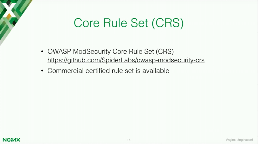 OWASP ModSecurity Core Rule Set for application security [presentation by Stepan Ilyan, cofounder of Wallarm, at nginx.conf 2016]