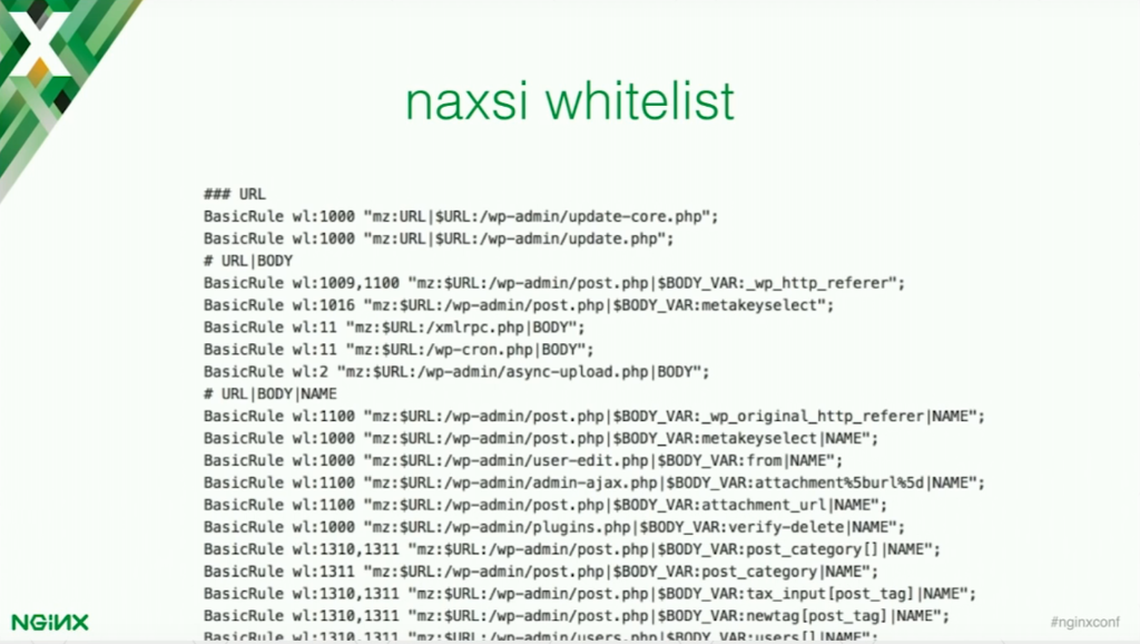 NAXSI has a special tool for generating a whitelist for your application [presentation by Stepan Ilyan, cofounder of Wallarm, at nginx.conf 2016]