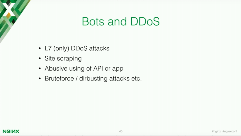 Bots and DDoS abuse APIs, use site scripting, and use bruteforce and dirbusting attacks [presentation by Stepan Ilyan, cofounder of Wallarm, at nginx.conf 2016]