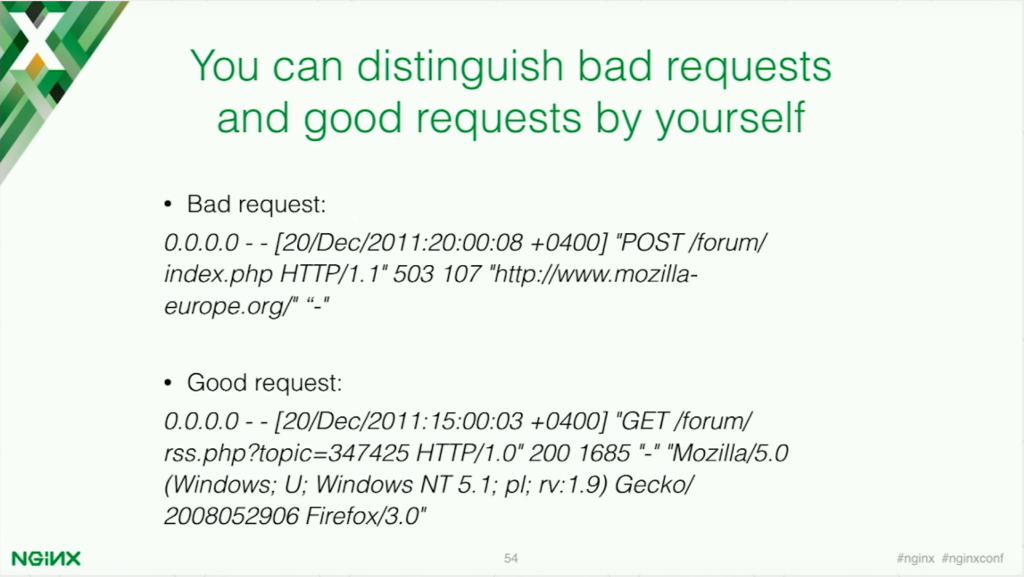 You can distinguish between good and bad request manually, but it isn't pragmatic [presentation by Stepan Ilyan, cofounder of Wallarm, at nginx.conf 2016]
