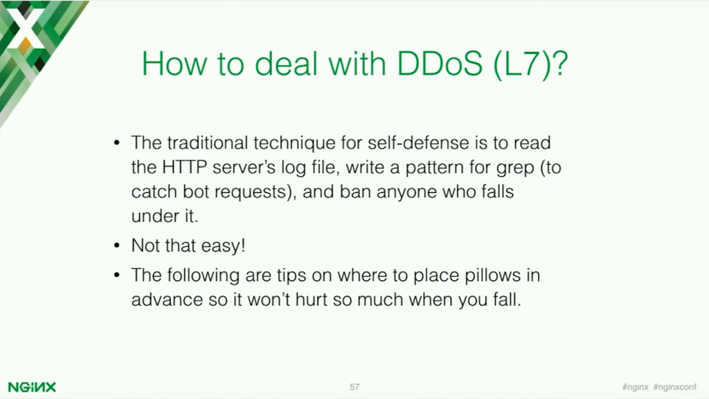The traditional technique for defense is to read the HTTP server's log file and write a pattern to catch bot request and ban them [presentation by Stepan Ilyan, cofounder of Wallarm, at nginx.conf 2016]
