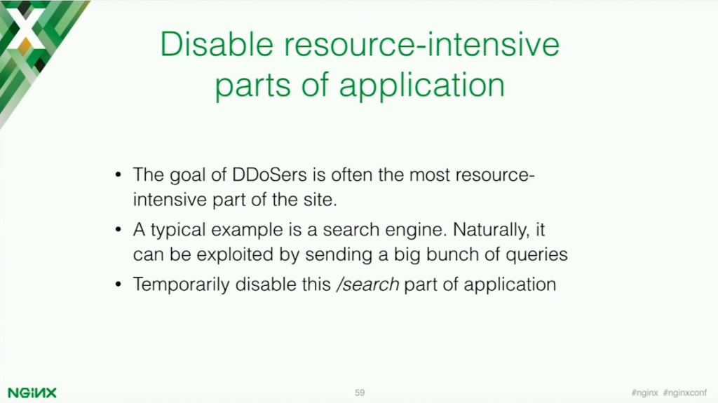 The target of DDoSers is often the most resource-intensive part of the site [presentation by Stepan Ilyan, cofounder of Wallarm, at nginx.conf 2016]