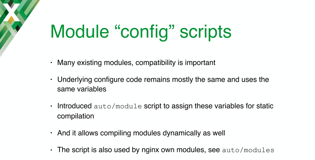 The 'auto/module' configuration script was introduced to maintain compatibility between existing static modules and the new dynamic modules in NGINX