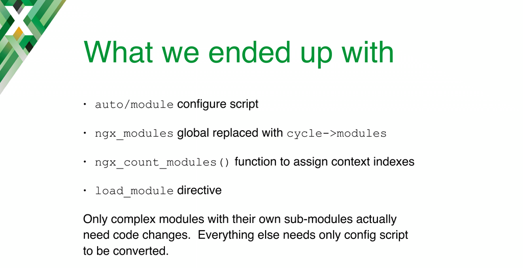 Slide summarizing the new code written for conversion from static module compilation to dynamically loaded modules, which are discussed in detail on subsequent slides [nginx.conf 2016 presentation by Maxim Dounin, developer of dynamic modules at NGINX, Inc.]