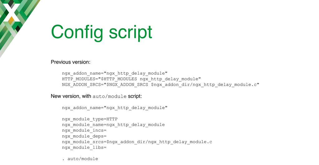 For most NGINX dynamic modules, all you have to do to convert from statically compiled modules is change your configuration script