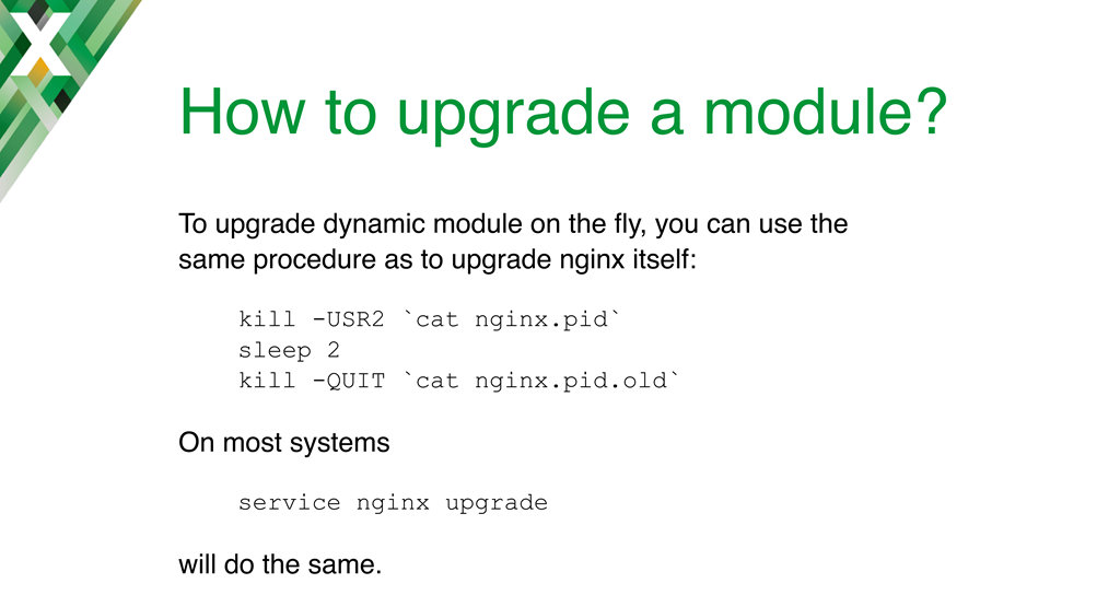 You can upgrade to a new version of a dynamic module on the fly, the same as for the binary itself, with the 'service nginx upgrade' or 'kill -USR2' command