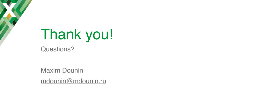 Final slide reading 'Thank you' in nginx.conf 2016 presentation by Maxim Dounin, developer of dynamic modules at NGINX, Inc.