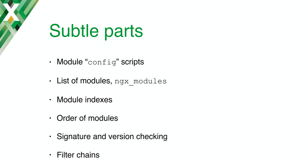 Summary slide for section about the solutions chosen for challenges in the implementation of NGINX dynamic modules