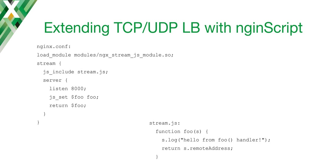 NGINX configuration and nginScript code to return the client IP address, for running on an NGINX TCP load balancer