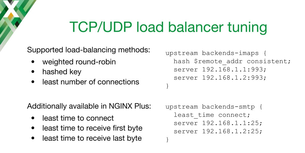 NGINX configuration code for fine-tuning TCP load balancing with different algorithms