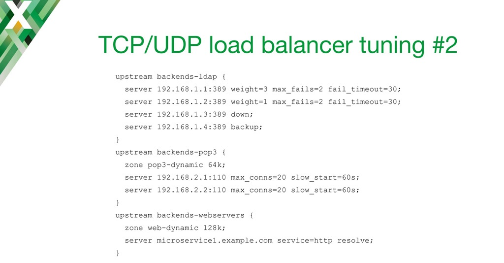 NGINX configuration code for fine-tuning TCP load balancing with weights, passive health checks, connection limits, slow start, and dynamic reconfiguration of upstream groups using DNS
