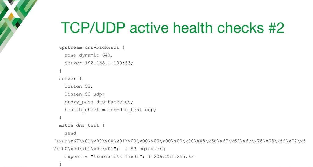 NGINX configuration code for implementing active health checks with TCP load balancing and UDP load balancing