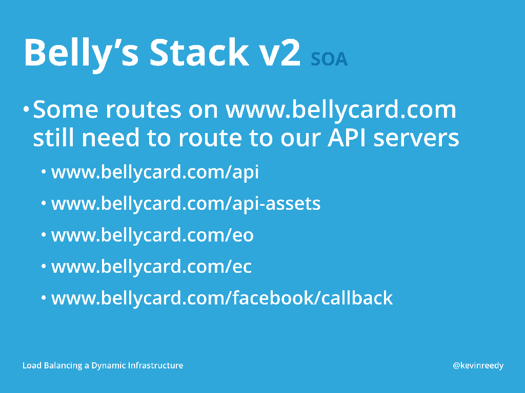 Version two of Belly's Stack on service-oriented architecture still routed to their API servers [presentation by Kevin Reedy of Belly Card at nginx.conf 2014]