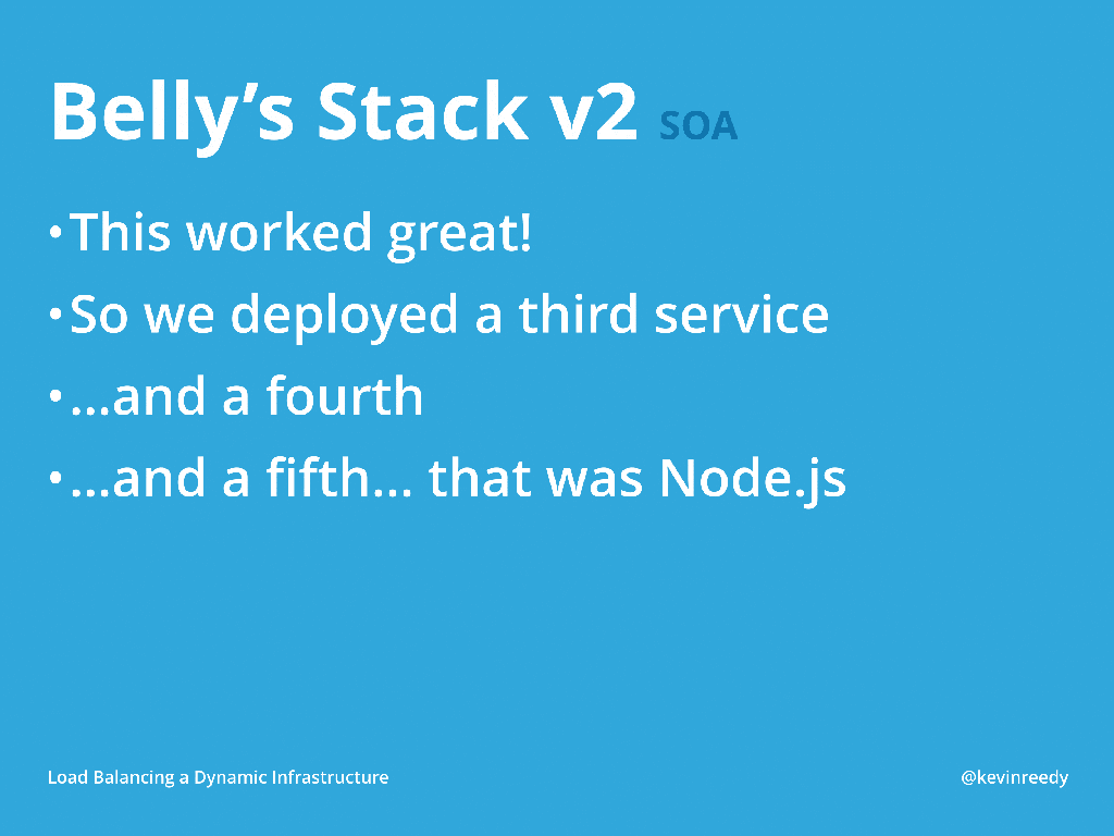 Belly continued to implement services in version two of their stack [presentation by Kevin Reedy of Belly Card at nginx.conf 2014]