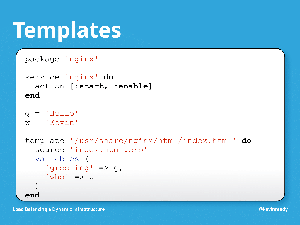 Chef templates are used for writing content automatically [presentation by Kevin Reedy of Belly Card at nginx.conf 2014]
