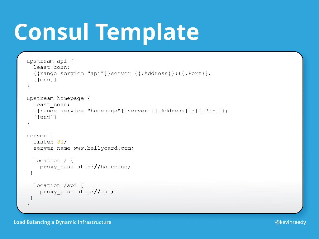 Consul template example with multiple upstreams and a server block [presentation by Kevin Reedy of Belly Card at nginx.conf 2014]