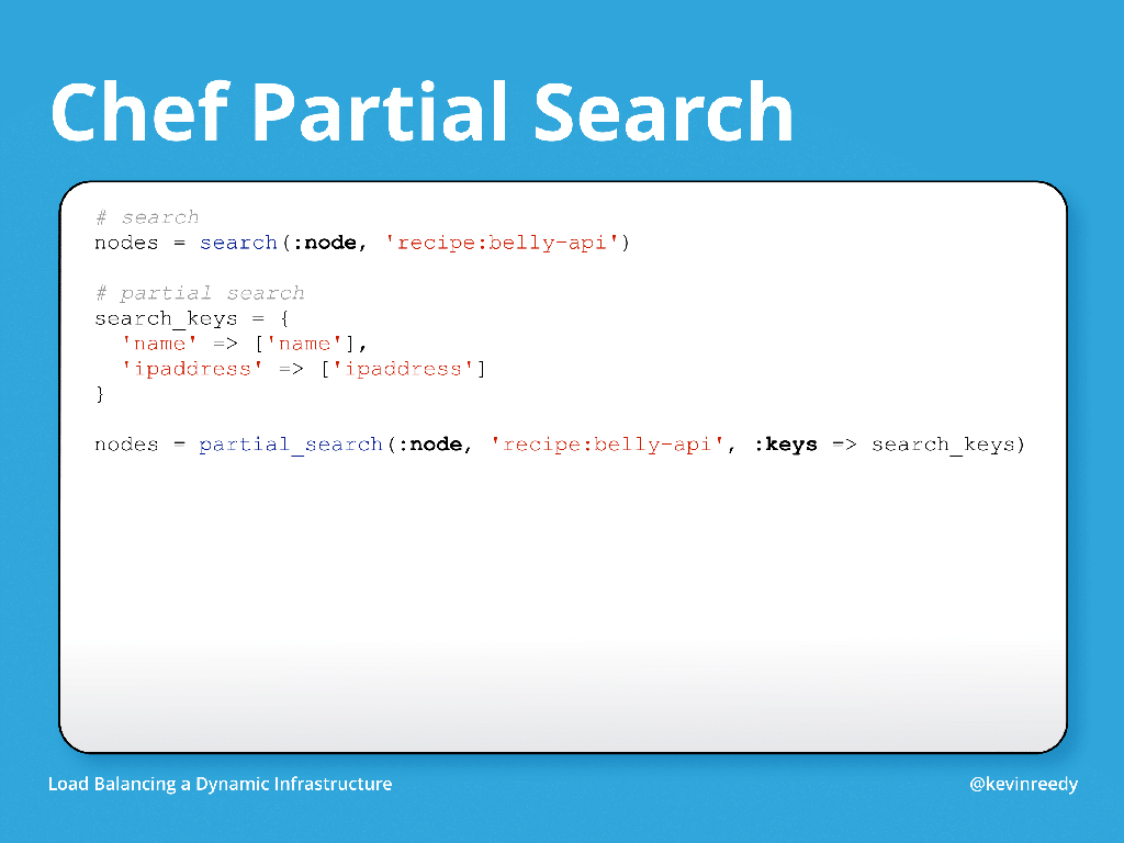 Example of Chef partial search [presentation by Kevin Reedy of Belly Card at nginx.conf 2014]