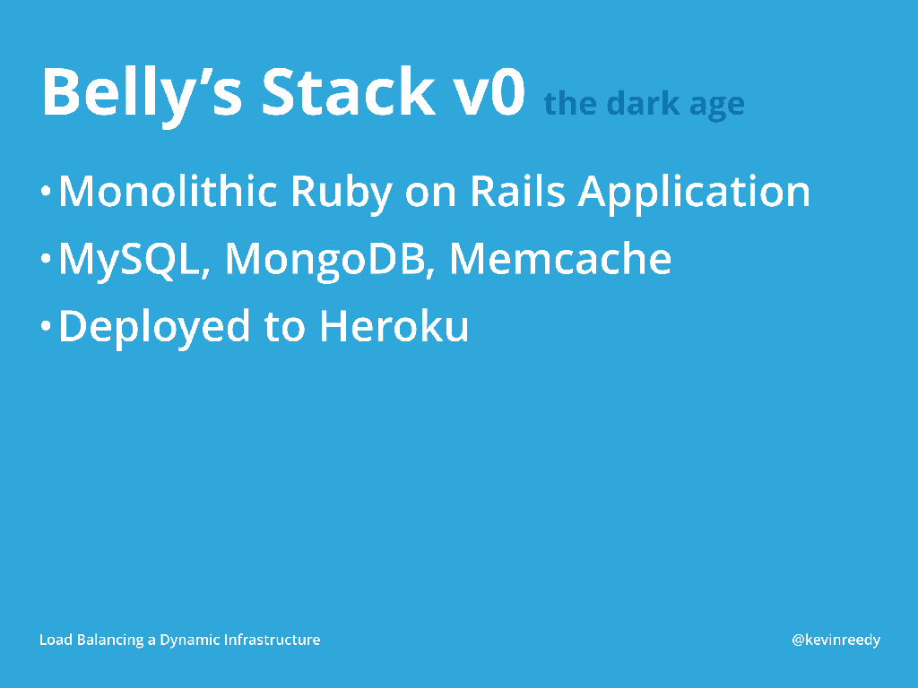 Version 0 of Belly's Stack was a monolithic Ruby on Rails Application with MySQL, MongoDB, and Memcache [presentation by Kevin Reedy of Belly Card at nginx.conf 2014]