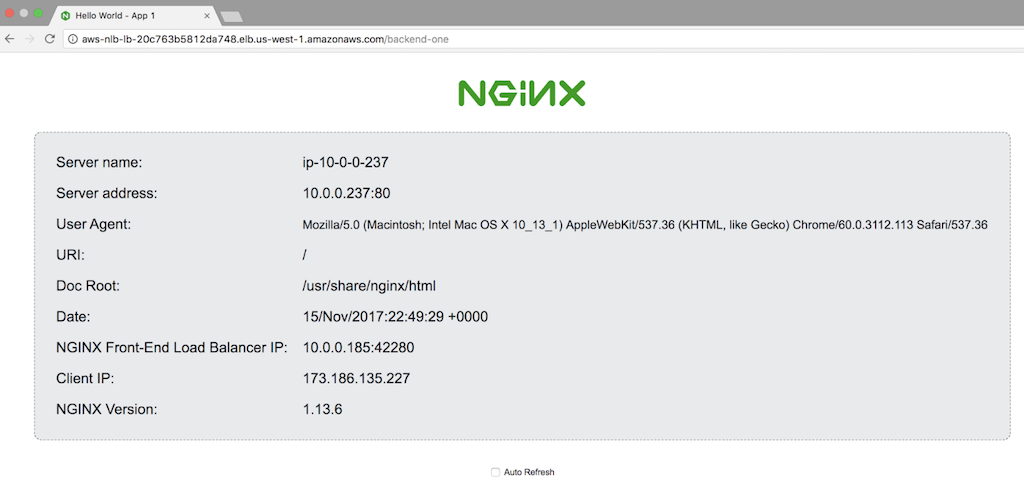 Screenshot of standard NGINX web server demo page from App 1