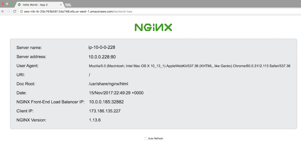 Screenshot of standard NGINX web server demo page from App 2