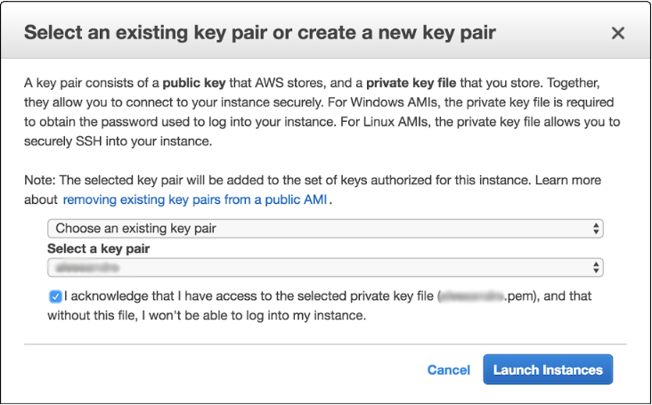 Screen of 'Select an existing key pair or create a new key pair' window during creation of Amazon EC2 instance