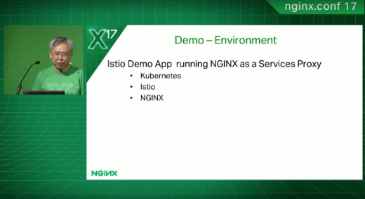 Istio Demo App running NGINX as a Service Proxy