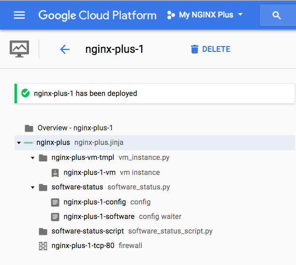 Screenshot NGINX plus deployed on Google Cloud Platform