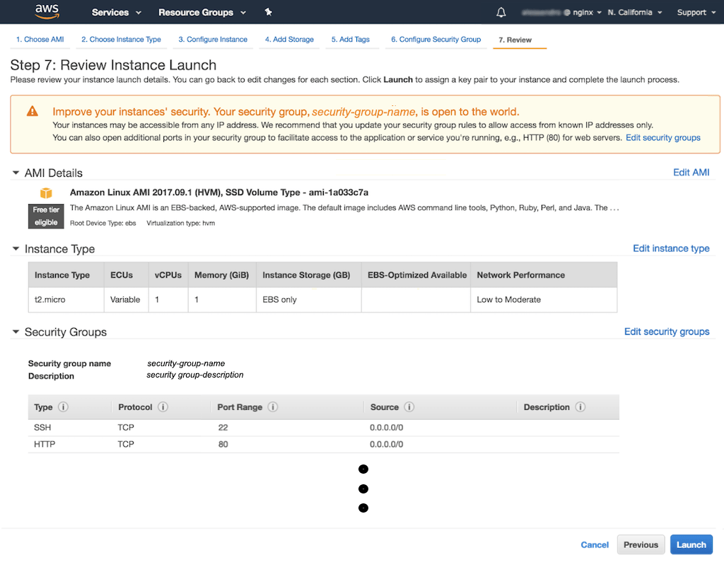 NGINX Docs | Creating Amazon EC2 Instances for NGINX Open