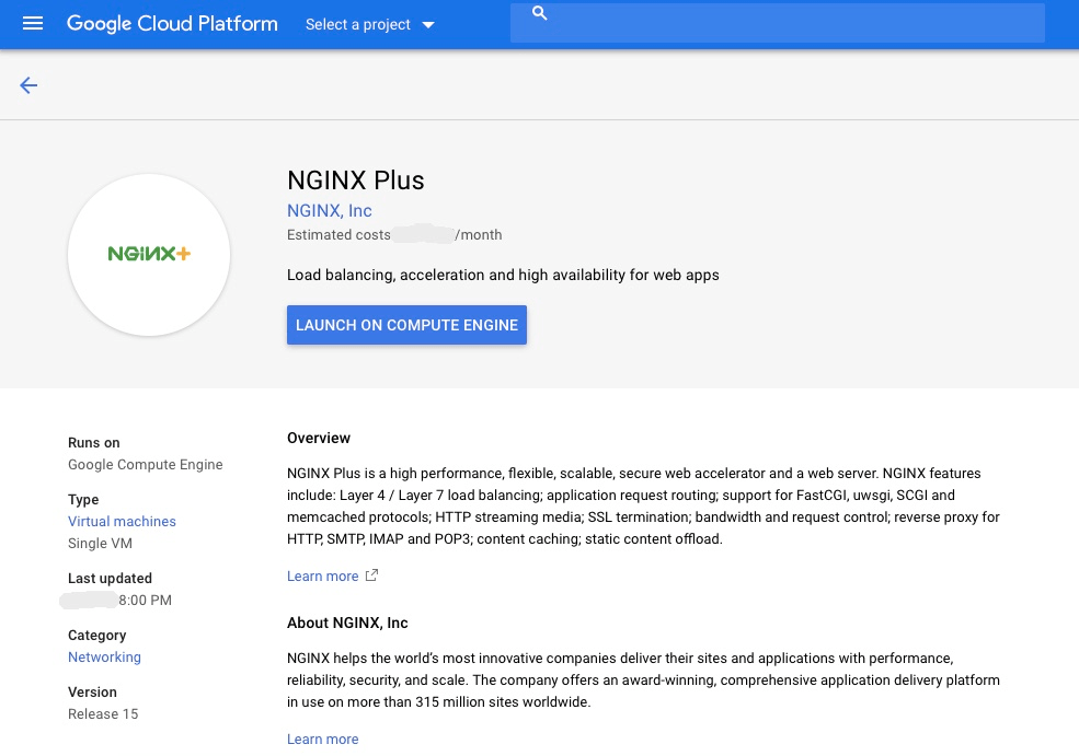 screenshot NGINX Plus on Google Marketingplace