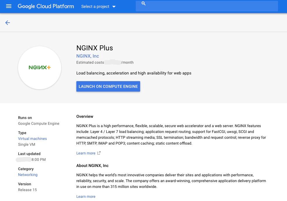 screenshot NGINX Plus on Google Marketingplace