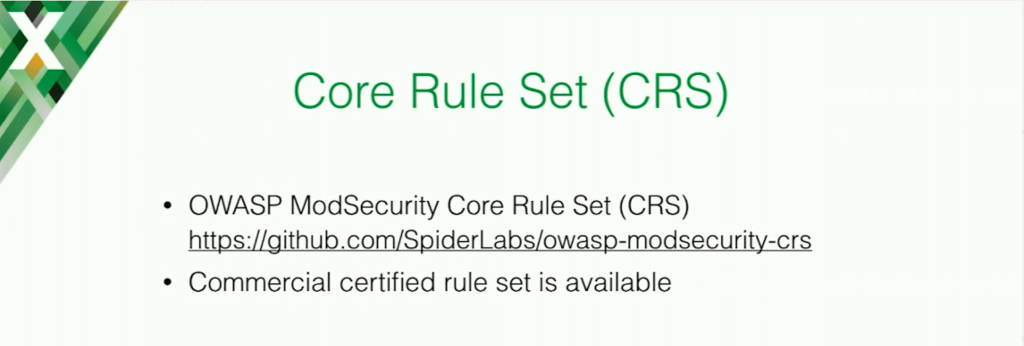 OWASP is a popular ModSecurity Core Rule Set