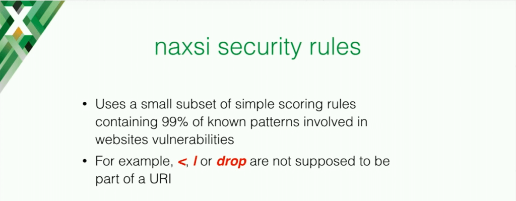 NAXSI uses a set of scoring rules and it looks for a small subset of mailicious symbols to secure your application