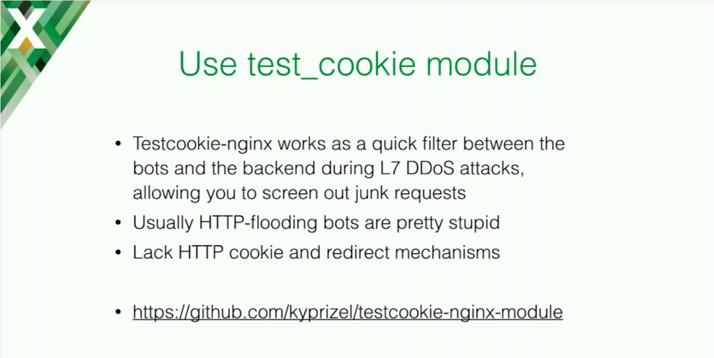 Using the test_cookie module allows you to counteract DDoS attacks and HTTP-flooding bots