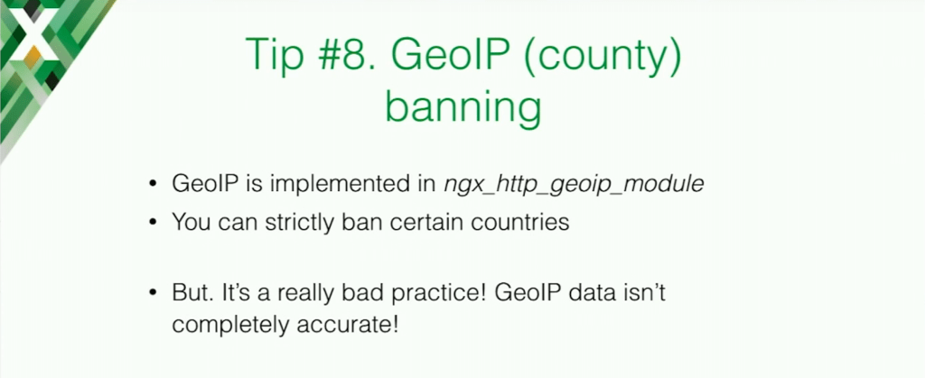 GeoIP can be implemented to ban certain countries, but it is a really bad practice because it isn't completely accurate