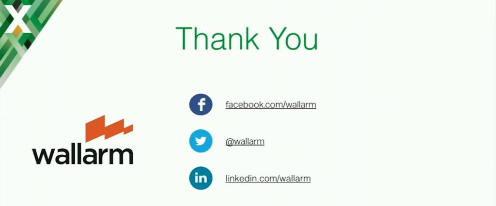 Slide with contact info: facebook.com/wallarm, @wallarm for Twitter, linkedin.com/wallarm