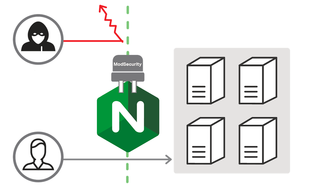 The ModSecurity web application firewall for NGINX Plus plugs in to improve web application security by mitigating DDoS attacks and other security threats