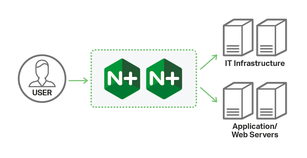 In the most flexible architecture for modern application delivery, NGINX Plus completely replaces hardware application delivery controllers