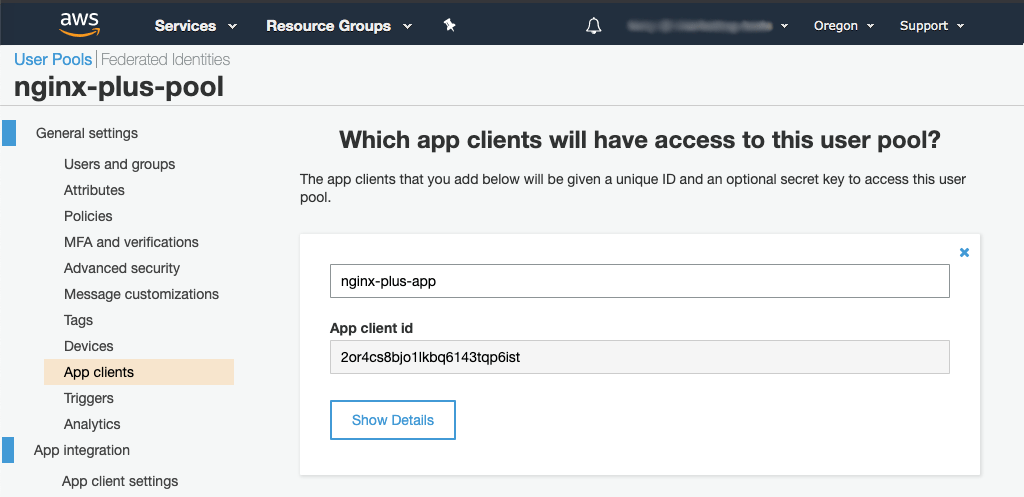 'App clients' tab in Amazon Cognito GUI