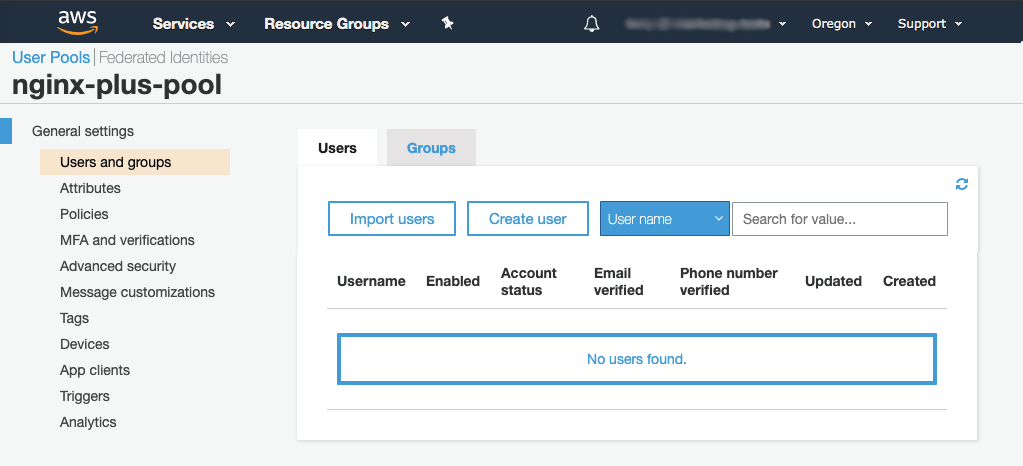 'Users and groups' tab in Amazon Cognito GUI