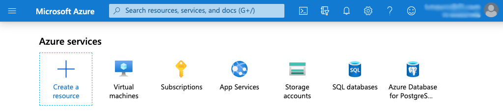screenshot of top navigation bar at Microsoft Azure portal