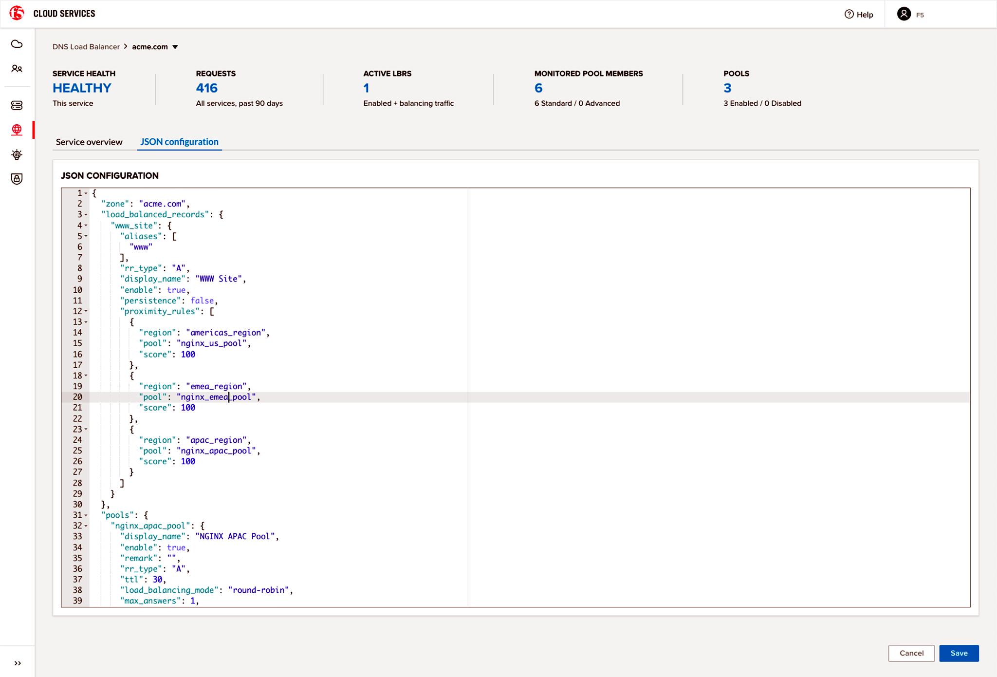 F5 Screenshot of JSON Configuration