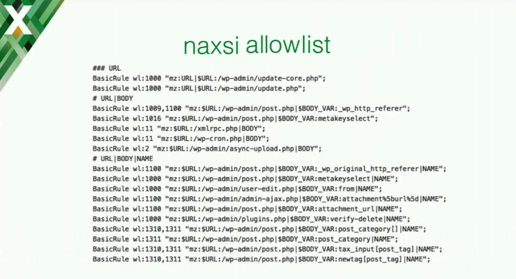 NAXSI has a special tool for generating an allowlist for your application