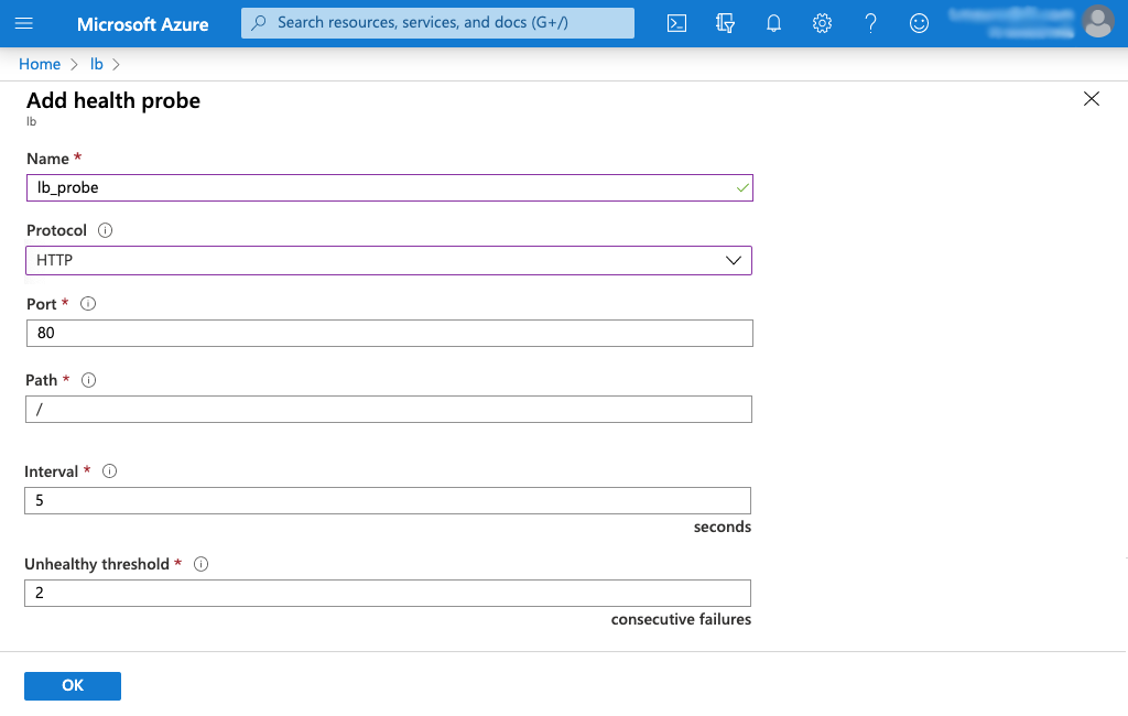 Screenshot of Azure 'Add health probe' page for Standard Load Balancer