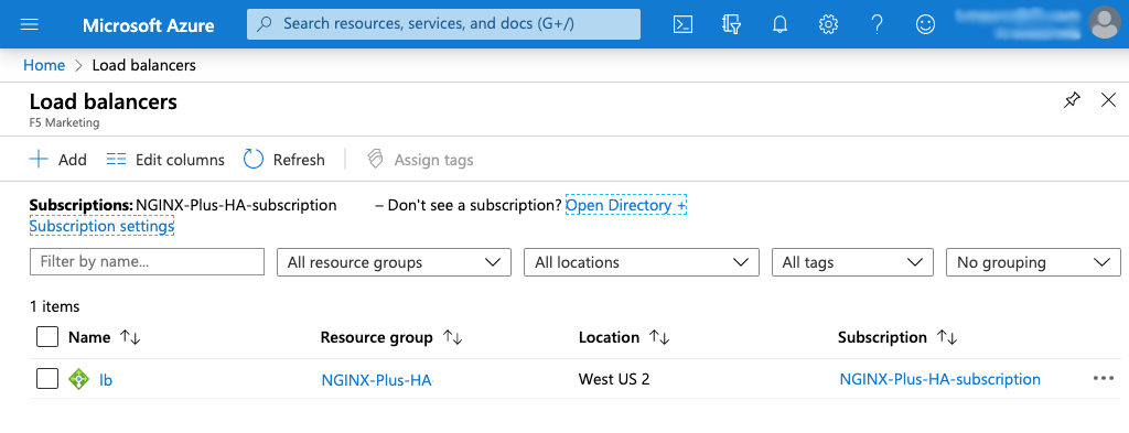 Screenshot of Azure 'Load Balancers' page