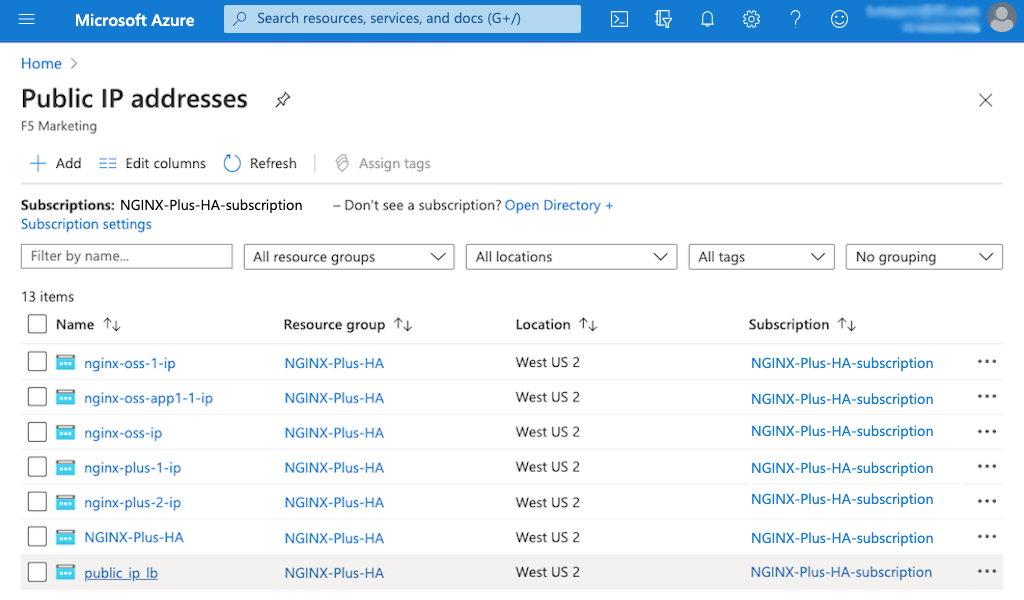 Screenshot of Azure 'Public IP addresses' page